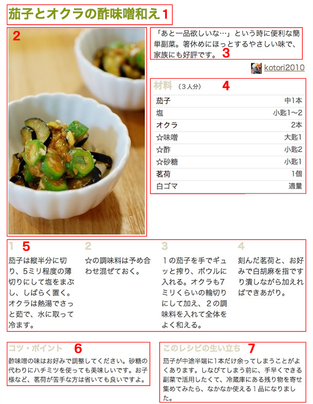 レシピの書き方例